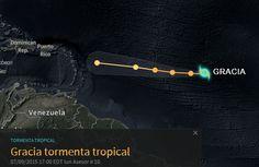 Ubicación de la tormenta tropical Gracia a las 05:00 P.M.Lunes 06-09-2015   LVV