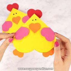Heart Chicken CraftIf your friends fancy chickens why not make their day with this adorable heart chicken craft – a cool little Valentines day card.Heart Chicken Craft If your friends fancy chickens why not make Bee Crafts, Bunny Crafts, Easter Crafts For Kids, Preschool Crafts, Heart Crafts, Craft Activities, Christmas Paper Crafts, Valentine Day Crafts, Holiday Crafts