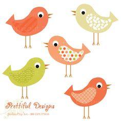 Bird Clip Art Pink and Green Pattern Bird Clipart Instant Download ...