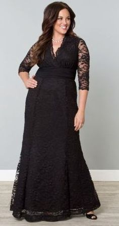 Awesome Great Kiyonna Plus Size Dress Size Black Lace Gown Screen Siren Style Formal V Neck 2017 2018 Plus Size Gowns Formal, Plus Size Black Dresses, Plus Size Evening Gown, Lace Evening Gowns, Plus Size Prom, Plus Size Outfits, Formal Dresses, Bride Dresses, Prom Dresses