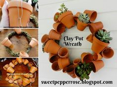 Place a piece of mesh in the pots before adding the soil and fill with succulents or cacti. (Tutorial: Sweet Pepper Terra Cotta Clay Pot DIY Project for Your Garden-Clay Pot Wreath Pots D'argile, Clay Pots, Planter Pots, Planter Ideas, Wall Planters, Clay Pot Crafts, Diy Clay, Clay Pot People, Terracotta Flower Pots