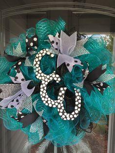 Coastal Carolina University Teal Mesh Wreath by JEMCrafty on Etsy