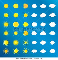 Sun and clouds and sky set. Set of Sun icon and sun symbol, sun logo and sun label, cloud icon and cloud sign, cloud white logo on blue sky background. For Art, Print, web design. Vector illustration