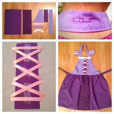 Rapunzel Apron. I googled Rapunzel apron and found a few that looked like this one. I then created a pattern and personalized each apron with the names of the girls that came to the party.