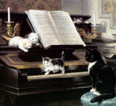 Henriette Ronner-Knip (1821 - 1909) The Piano Lesson with Cat and Kittens