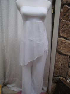 Moda International~Victorias Secret White Tunic Blouse & Pants Outfit Set XS  #ModaInternational #TunicandPantsSet #EveningOccasion
