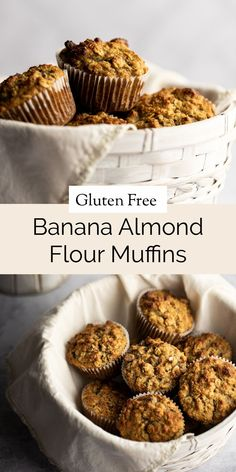 These are the tastiest banana almond flour muffins! Healthy, gluten-free and easy to make in 35 minutes. Made with the perfect balance of almond flour, rolled oats, greek yogurt and bananas for a rich, moist muffin texture. With chocolate chips and chopped walnuts mixed in, then baked until the tops are golden and crispy. Gluten Free Recipes For Kids, Easy Gluten Free Desserts, Gluten Free Cupcakes, Healthy Muffin Recipes, Gluten Free Recipes For Breakfast, Gluten Free Breakfasts, Gluten Free Baking, Healthy Meals, Bread Recipes