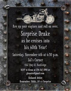 Vintage Garage Birthday Invitation – Guy's Motorcycle Party