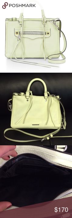 "Last Chance!! Rebecca Minkoff Micro Regan Satchel Brand new Micro Regan Satchel in honeydew (light light minty green) color with silver hardware. Zip closure with one front zip pocket and one inside slip pocket. The two studs in front are gold with a silver center (can be seen is first photo). Adjustable and removable satchel strap. Dust bag and extra tassel leather included. Approximate size: 9.75""W x 6.75""H x 3.75""D. Open to offers! Rebecca Minkoff Bags Satchels"
