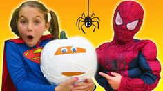 Supergirl & Spiderman How To Make Spooky Halloween Mummy Pumpkin White Duct Tape Crafts For Kids