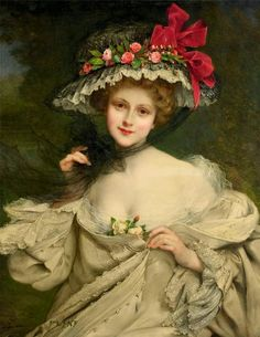 François Martin-Kavel - A Beauty with a Red-ribboned Hat