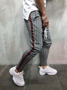 Men Slim Fit Casual Striped PAJ Sweatpants Pant - Gray 3771