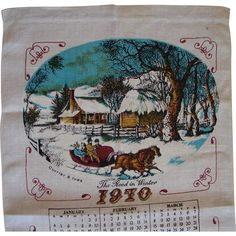 Vintage 1970 Retro Kitchen Calendar Towel Currier & Ives Winter Sleigh Scene FREE USA Shipping! vintage rustic kitchen for sale at www.rubylane.com @rubylanecom