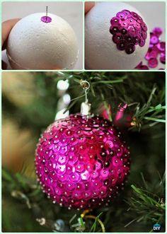DIY Styrofoam Sequin Ball Ornament Instruction-DIY Christmas Ornament Craft Ideas For Kids