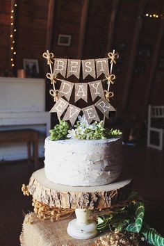 """Bring a rustic touch to your wedding cake with this adorable hand-crafted cake topper! It is the perfect addition to your wedding cake! It is made out of premium burlap and hand-lettered to display """"best day ever"""". I do not pre-make any of my cake toppers as each one is made from scratch, you will receive a unique and individualized item - youre gonna love it! :) Orders are shipped within 1 week after your order is placed and payment has been received. You can select whether you would like a…"""