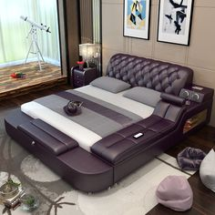 Simple modern master bedroom leather bed tatami leather bed 1.8 meters double bed massage bed multi-functional leather art bed - ChinaglobalMall