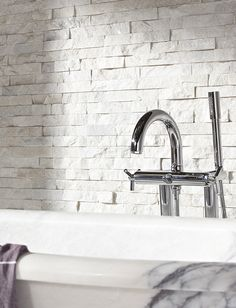 White Quartzite Maxi Splitface With Calacatta Viola Marble Bath Wall Decorative Tile