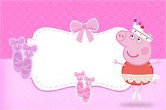 Convite, Moldura e Cartão Peppa Pig Bailarina: