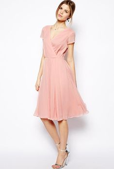 Wrap Dress Bridesmaid Dress - Knee-Length Pink Wrap Dress in Midi Length with a V-Neckline and Short Sleeves