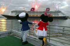 Disney characters Mickey Mouse and Minnie Mouse watch as Disney Cruise Line's newest ship, Disney Dream, arrives at her home port of Port Canaveral, Fla. Description from boston.com. I searched for this on bing.com/images