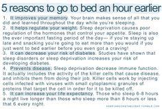Go to bed an hour earlier > sleep