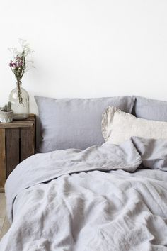 Light Grey New Stone Washed Linen Duvet Cover