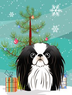 Under The Christmas Tree Japanese Chin Vertical Flag