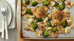 This delicious roasted chicken and veggie dinner comes together quickly, is guaranteed to please and proves that you don't need to feed a crowd to enjoy a sheet-pan supper.
