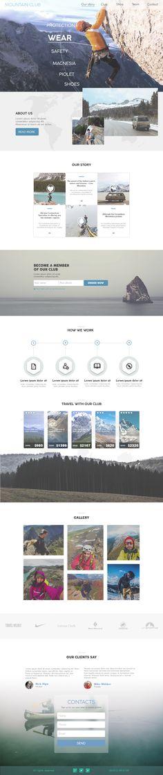 Mountain club website concept #mountain #club #climbing #website #webdesign #designofwebsite