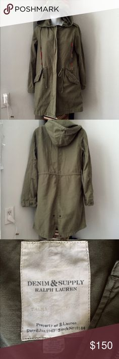 Denim & Supply by Ralph Lauren Fishtail Parka Denim & Supply by Ralph Lauren Fishtail Parka 100% Cotton, light weight, leather hood strings Women's XS fits up to Size 6 hits at or below knees depending on your height. NWOT Denim & Supply Ralph Lauren Jackets & Coats