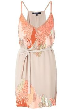 circus strappy dress in peach and coral