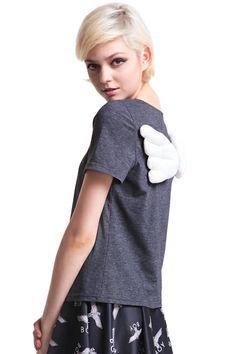 ROMWE | Dark Grey Wings T-shirt, The Latest Street Fashion
