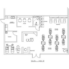 Beauty Salon Floor Plan Design Layout - 1490 Square Foot