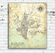 KARACHI Canvas Print Pakistan Vintage map Karachi Sindh wall art poster Vintage retro old antique map world travel gift home decor print map