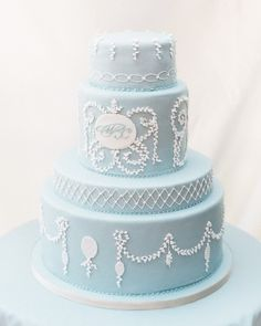Michelle and Chris had a sophisticated Disney-themed wedding in Positano on the Italian Amalfi coast. To match their dreamy décor, pale blue fondant covered their delicate dark chocolate cake by Rose's Cakes. Pastel Wedding Cakes, Summer Wedding Cakes, Cool Wedding Cakes, Beautiful Wedding Cakes, Wedding Cake Designs, Beautiful Cakes, Blue Wedding, Dark Chocolate Cakes, Chocolate Desserts