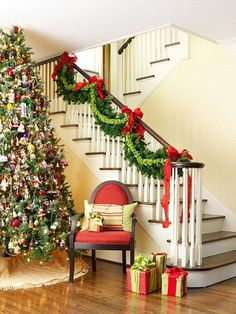 Very festive! Give the traditional staircase evergreen swag a burst of fresh color and style by adding a bright green layer