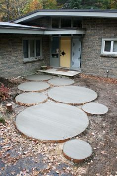round concrete step stones- I would add concrete stain in natural brown tones with succulents and or moss along the edges