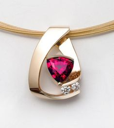 ruby necklace - 14k yellow gold - Chatham lab grown ruby - diamonds - gemstone jewelry - July birthstone - fine jewelry - 3452