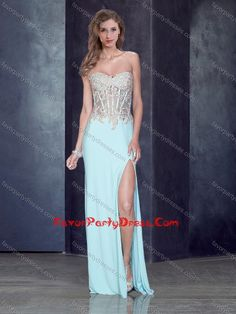 Romantic Sweetheart Light Blue Prom Dress with High Slit and Appliques