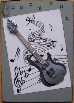 carte grise garçon guitare 3D : Cartes par cdine08