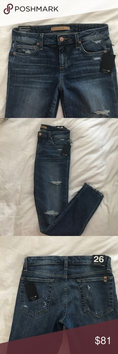 "NEW w/tags Joe's Jeans- Skinny Ankle NEW w/tags distressed JOE's Jeans.  Fit is called Skinny Ankle.  28"" inseam and front rise is 9"".  Color is (looks like medium wash). Never been worn. Original tags attached. Joe's Jeans Jeans Ankle & Cropped"