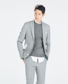 Image 3 of GREY WOOL BLAZER from Zara