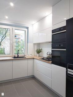 skandynawska kuchnia w bloku - Średnia otwarta kuchnia w kształcie litery l z oknem, styl skandynawski - zdjęcie od FORMA-MEBLE.PL