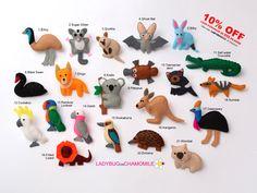 AUSTRALIAN ANIMALS felt magnetsAussie by LadybugOnChamomile