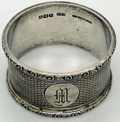 Vtg Sterling Silver Napkin Ring C & N Crisford Norris MH  HM  Monogram Initial  #EngineTurned #CrisfordNorris