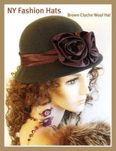 The great fashion designer, brown wool ladies hats, cloches, winter wool cloche hat