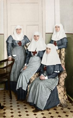 At the outset of the war, Olga and her sister Tatiana, daughters of Nicholas II of Russia, worked as nurses in a military hospital along with their mother, Tsarina Alexandra.