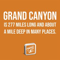 DID YOU KNOW? Grand Canyon is 277 miles long and about a mile deep in many places. Institute For Creation Research, Did You Know, Discovery, Grand Canyon, Facts, Deep, Quotes, Quotations, Grand Canyon National Park