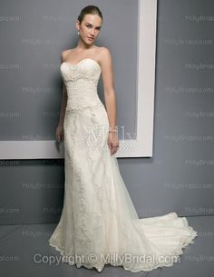 Trumpet/Mermaid Sweetheart Embroidery Beading Lace Chapel Train Wedding Dress