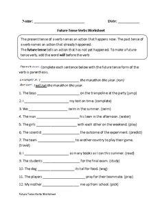Future Tense Verbs Practice Worksheet